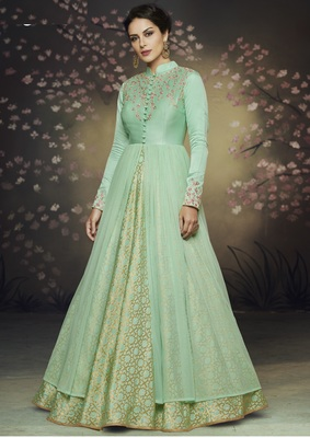 Green embroidered silk salwar
