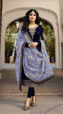 Navy Blue Satin Georgette Straight Salwar Kameez Semi Stitched