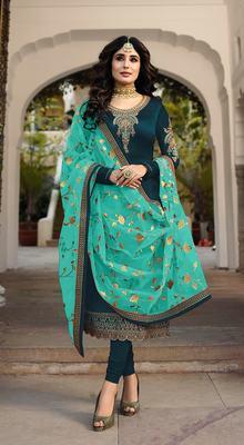 Teal Blue Satin Georgette Straight Salwar Kameez Semi Stitched