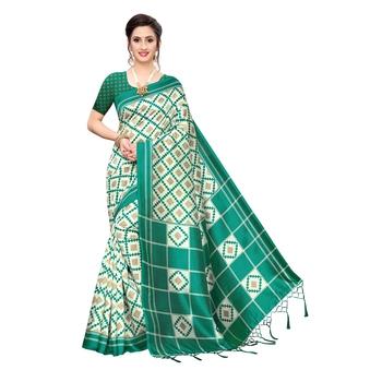 Dark green printed khadi saree with blouse