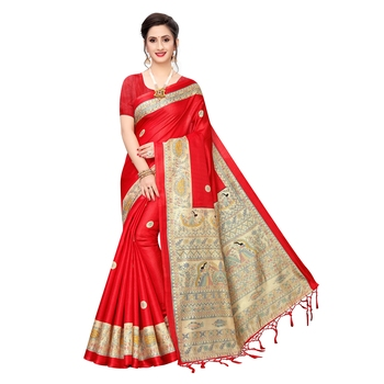 Red printed khadi saree with blouse