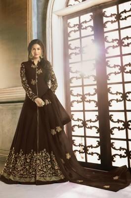 Brown Faux Georgette Anarkali Salwar Kameez Semi Stitched
