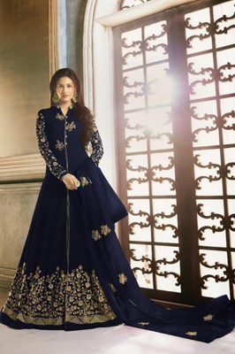 Navy Blue Faux Georgette Anarkali Salwar Kameez Semi Stitched