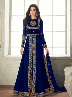 Blue embroidered santoon salwar