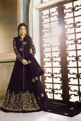 Purple Faux Georgette Anarkali Salwar Kameez Semi Stitched