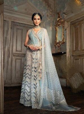 Sky-blue embroidered santoon salwar