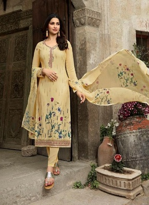 LIGHT-YELL EMBROIDERED FRANCE CREPE SALWAR SEMI STITCHED