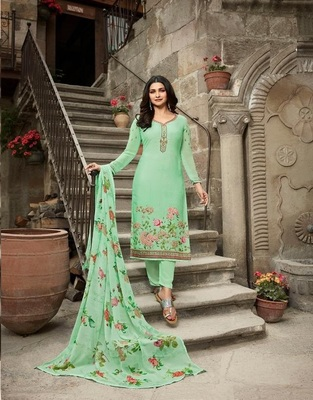 LIGHT-SEA GREEN EMBROIDERED FRANCE CREPE SALWAR SEMI STITCHED