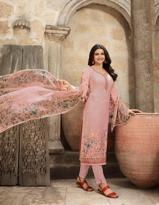 PEACH EMBROIDERED FRANCE CREPE SALWAR SEMI STITCHED