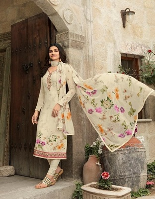 OFF WHITE EMBROIDERED FRANCE CREPE SALWAR SEMI STITCHED