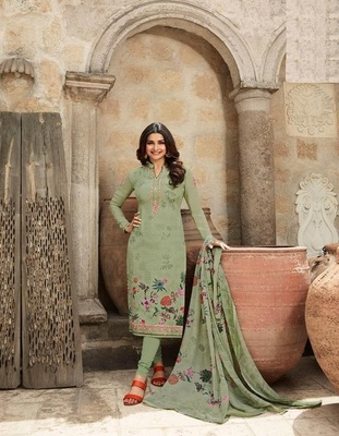 LIGHT GREEN EMBROIDERED FRANCE CREPE SALWAR SEMI STITCHED