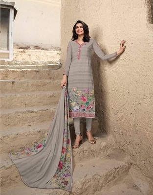 LIGHT GRAY EMBROIDERED FRANCE CREPE SALWAR SEMI STITCHED