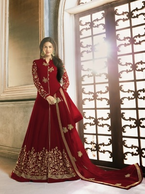 MAROON EMBROIDERED GEORGETTE ANARKALI SEMI STITCHED