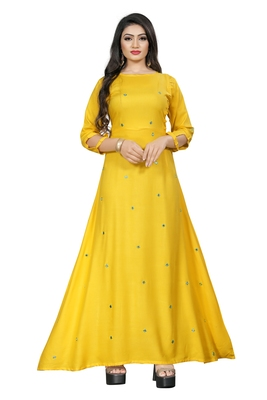 Yellow embroidered cotton maxi-dresses