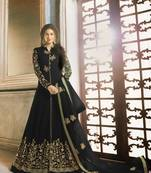 Buy BLACK EMBROIDERED FAUX GEORGETTE SALWAR SEMI STITCHED