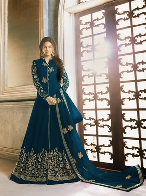 DARK-SKY-BLUE EMBROIDERED FAUX GEORGETTE SALWAR SEMI STITCHED