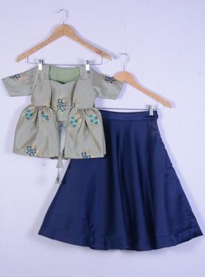 girl sea green with blue designer lahenga choli set