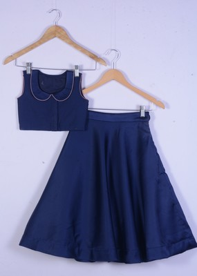 girl blue cotton silk lahenga choli for kids