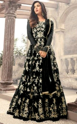 Black embroidered net salwar