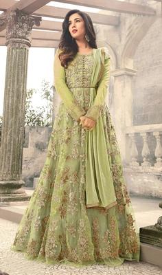 Light-parrot-green embroidered net salwar