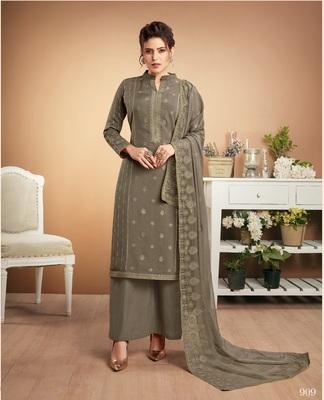 Beige self design silk salwar