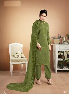 Green self design silk salwar