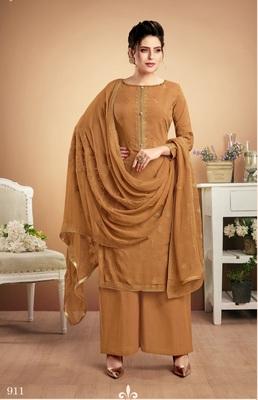 Mustard self design silk salwar