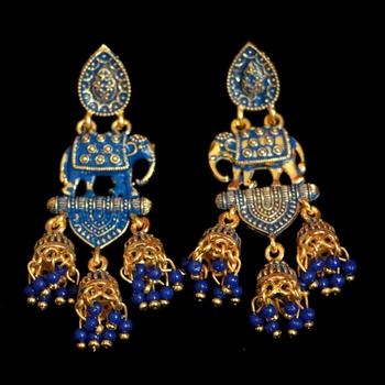 Blue pearl danglers-drops