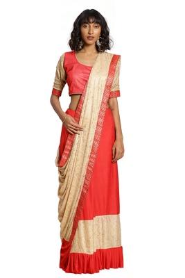 Peach plain lycra cotton saree with blouse