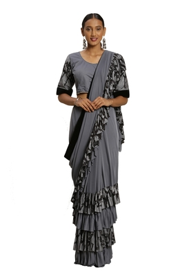 Grey plain lycra cotton saree with blouse