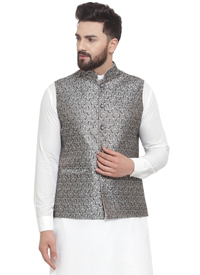 New Designer Men Black And Grey Brocade Nehru Jacket By Treemoda