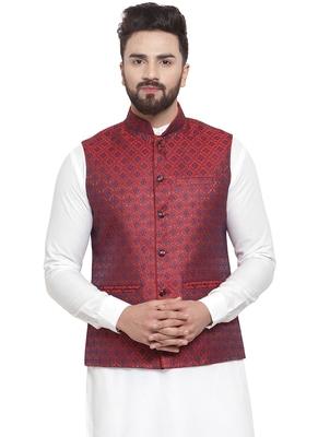 New Designer Men Maroon Brocade Nehru Jacket By Treemoda