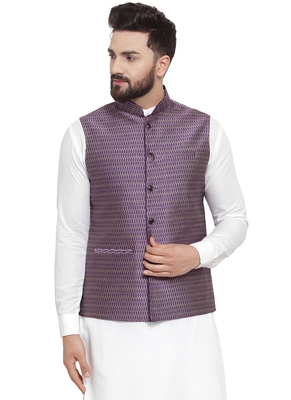 Designer Men Violet Brocade Nehru Jacket For Men