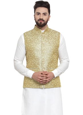 Designer Men Lime Green And Golden Brocade Nehru Jacket
