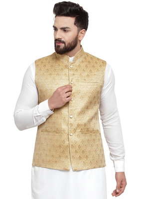 Designer Men Golden Brocade Nehru Jacket