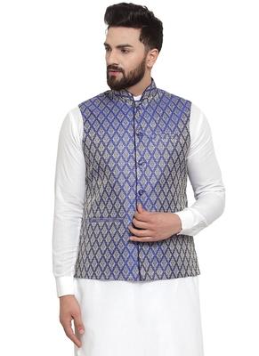 Designer Men Purple Brocade Nehru Jacket