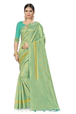 Sky blue woven art silk saree with blouse