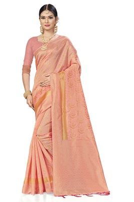 Light pink woven art silk saree with blouse