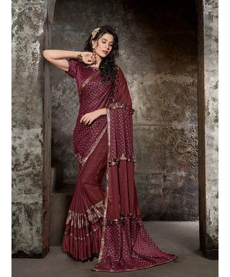 maroon printed viscose rayon saree with blouse