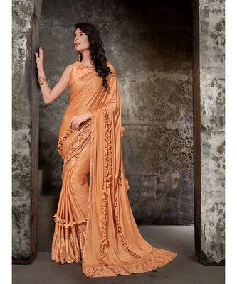 peach printed viscose rayon saree with blouse