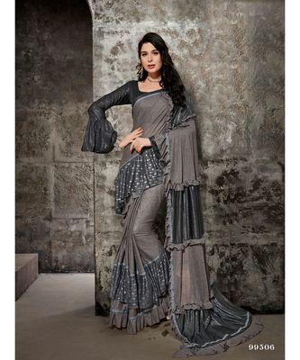 grey printed viscose rayon saree with blouse