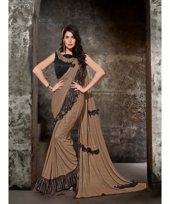 beige printed viscose rayon saree with blouse