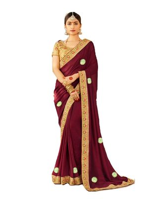 Maroon Embroidered Cotton Silk Saree With Blouse