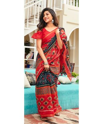 red printed cotton saree with blouse