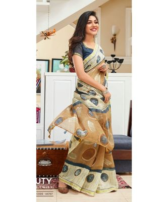 Beige Printed Cotton Saree With Blouse