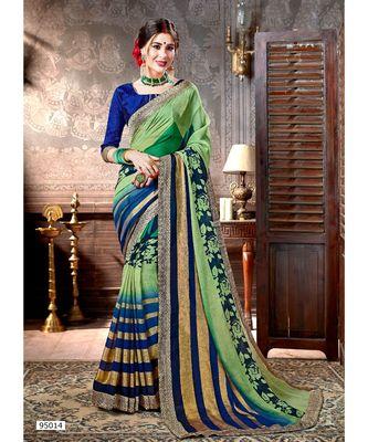 green printed viscose rayon saree with blouse