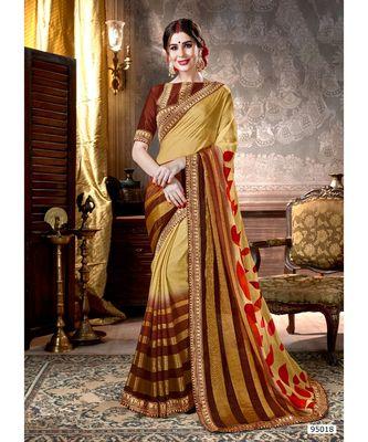 golden printed viscose rayon saree with blouse