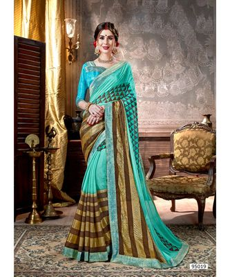 turquoise printed viscose rayon saree with blouse