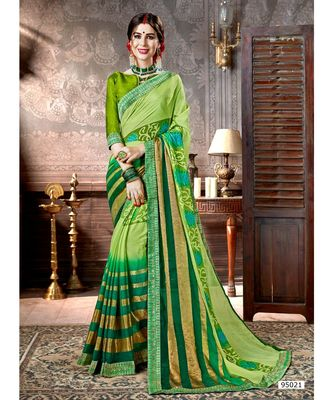 green printed viscose rayon saree with blouse