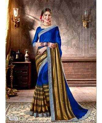 blue printed viscose rayon saree with blouse